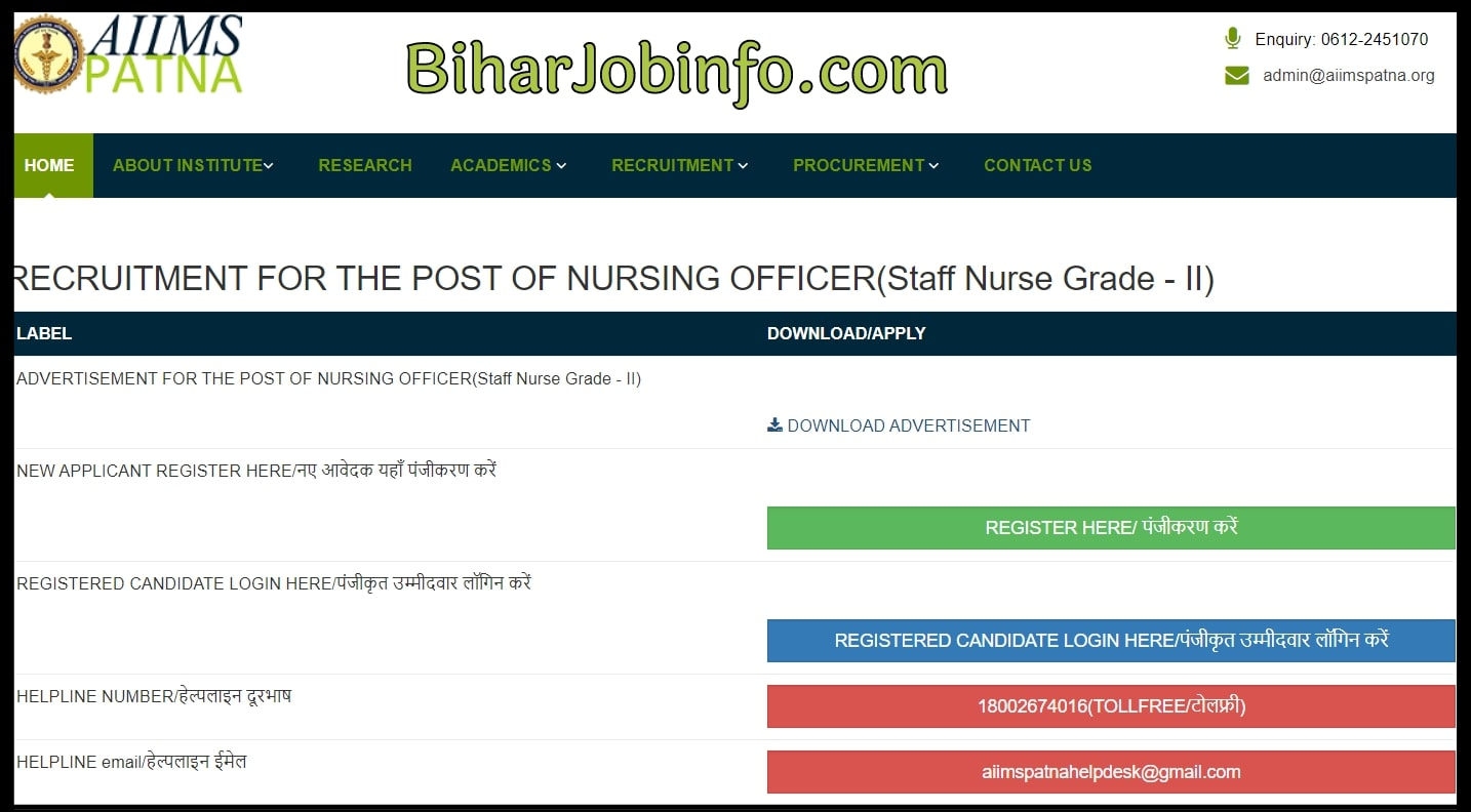 AIIMS Patna Staff Nurse Bharti Online Form
