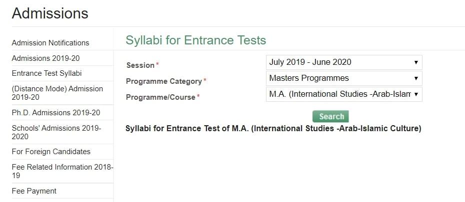 JMI Syllabi for Entrance Test