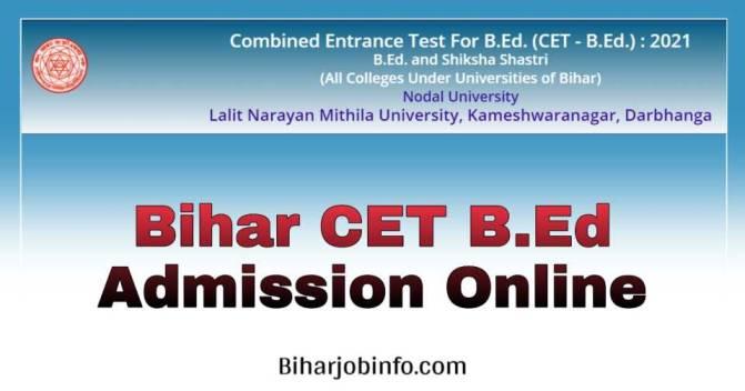 Bihar CET BEd Admission Online